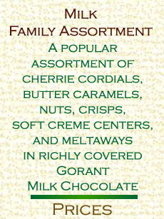 Milk family assortment. A popular assortment of cherrie cordials,butter caramels, nuts, crisps, soft creme centers,and meltaways.