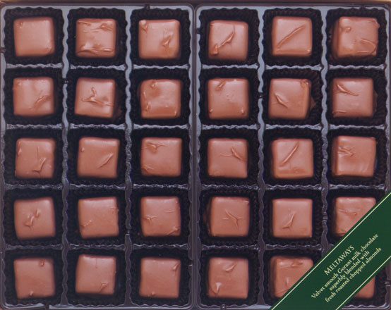 Picture of a box of milk chocolate meltaways.